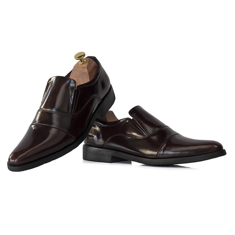 รองเท้าหนังแท้ คัชชู หัวแหลม สีน้ำตาล แบบสวม ไม่มีเชือก พื้นยางแท้กันลื่น  StepPro Loafer Shoes Code 313 New