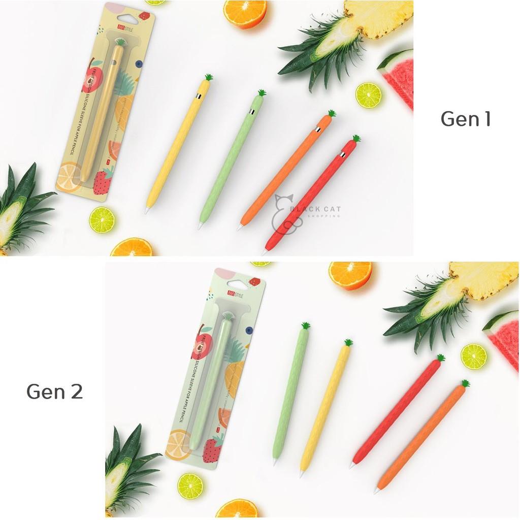 โค้ดลด10% Apple pencil Case เคสปากกาสับปะรด ปลอกปากกา apple pencil เคสซิลิโคน กันหาย กันกระแทก เคส Apple Pencil Case 2ri