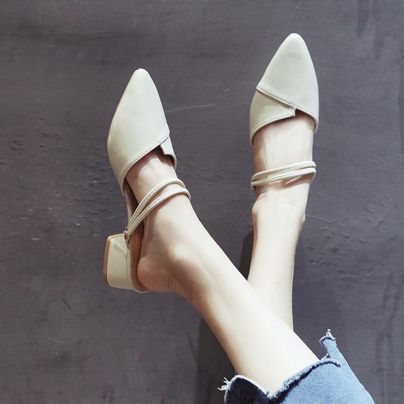 รองเท้าส้นสูง หัวแหลม ส้นเข็ม ใส่สบาย New Fshion รองเท้าคัชชูหัวแหลม  รองเท้าแฟชั่นเป่าโถวรองเท้าแตะของผู้หญิงรองเท้าส้น