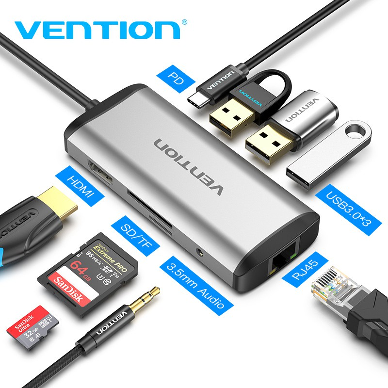 MUV 8 in 1 type C USB3.0 hub /& converter /& charger for Macbook