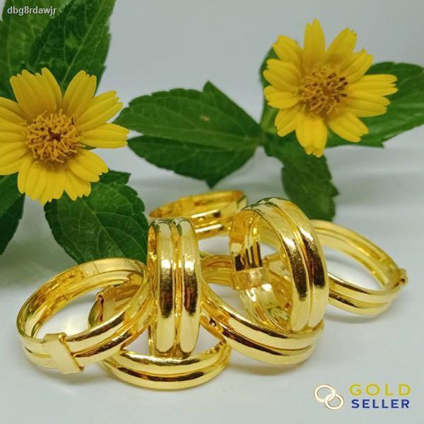 ราคาต่ำสุด❈✳Goldseller แหวนทองคู่ ลายเกลี้ยง ครึ่งสลึง ทองคำแท้ 96.5 %