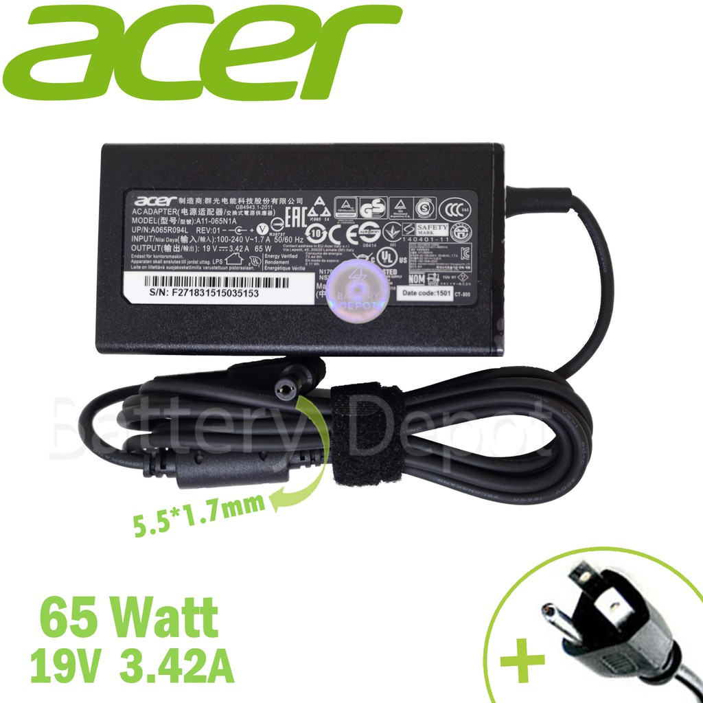 Acer Adapter ของแท้ ACER Aspire ZC-606 AIO All-in-One / Aspire Z3-451 / Aspire 2930 / Aspire S3 65W 5.5 สายชาร์จ Acer