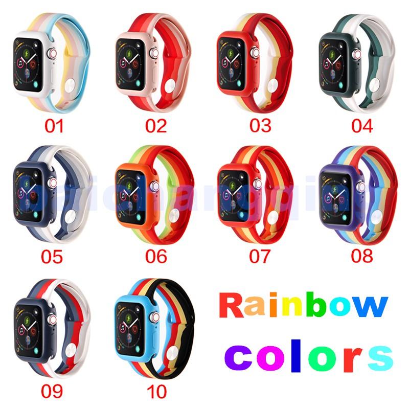 สาย applewatch สายนาฬิกา applewatch สายกีฬาซิลิโคนสีรุ้ง For Apple Watch band 42mm 44mm 38mm 40mm  For iwatch Series 5 4
