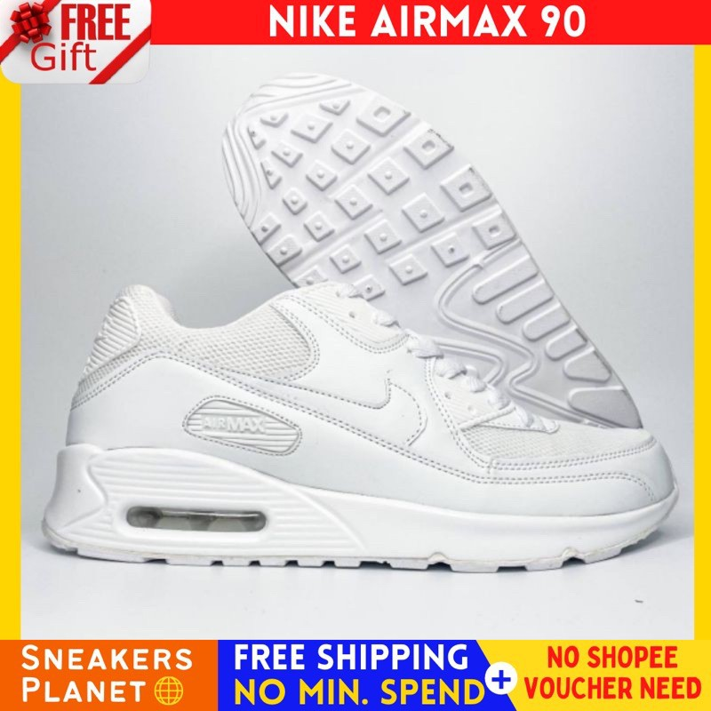 Nike Airmax 90 สีขาวล้วน 36-45 ผู้ชายผู้หญิงรองเท้ารองเท้าผ้าใบ KASUT LELAKI WANITA MURAH SUKAN SELESA RINGAN