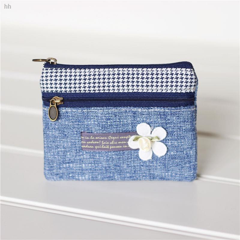 กระเป๋าสตางค์แท้กระเป๋าใส่สตางค์กระเป๋าใส่บัตร coachกระเป๋าใส่บัตรแบรนด์เนม✗∋☒ผ้าฝ้ายผ้าลินินสดขนาดเล็ก art coin purse