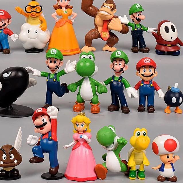 ฟิกเกอร์ Super Mario Bros Action Figure 18 ชิ้นสําหรับตกแต่งเค้ก