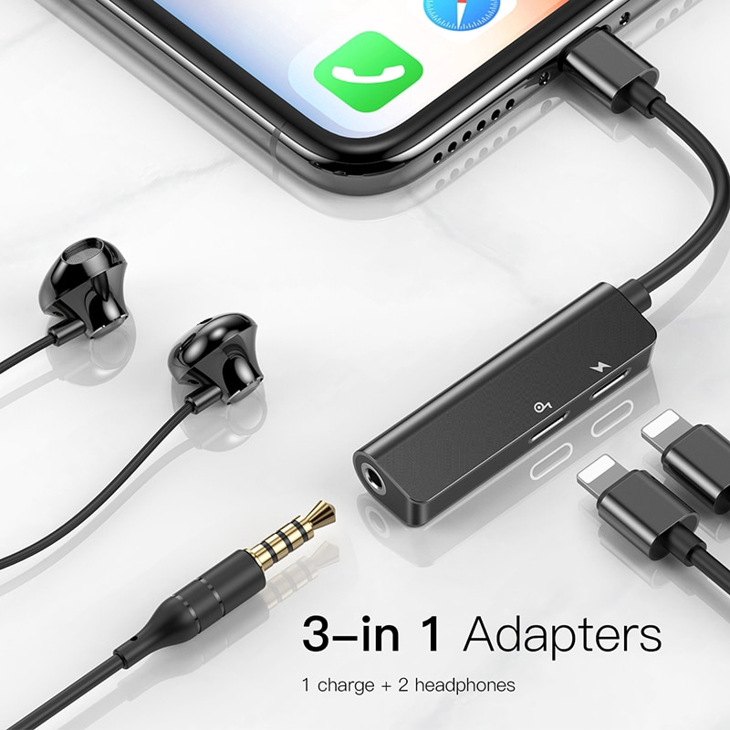 For iPhone Xs Max X Baseus 2 in1 Lightning to 3.5mm AUX Earphone Charger Adapter