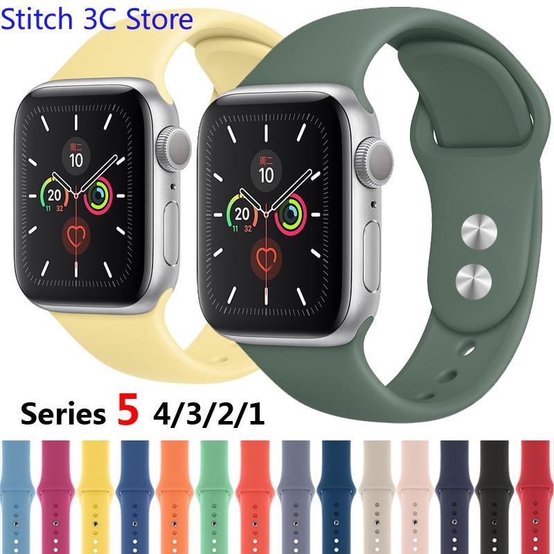 สายนาฬิกาข้อมือซิลิโคนสําหรับ apple watch series 4 44 มม. 40 มม. iwatch band 42 มม. 38 มม. 5 4 3 2