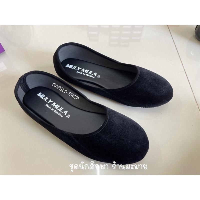 【รองเท้าคัชชู】 รองเท้านักศึกษา รองเท้าหุ้มส้นหัวกลม กำมะหยี่สีดำ รองเท้าสุภาพ พื้นต่ำ