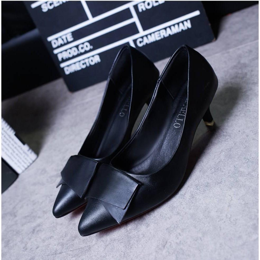 คัชชูหัวแหลมส้นสูงผู้หญิง รองเท้าส้นสูงแฟชั่นขายดี รองเท้าคัชชูส้นสูง 1 นิ้ว uMl6