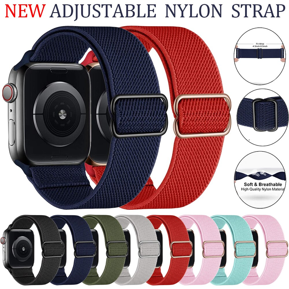 Elastic Nylon Strap for Apple Watch Series 6 5 Se 4 3 Adjustable Wrist Band for IWatch 38mm 42mm 44mm 40mm Bracelet Sport Bands
