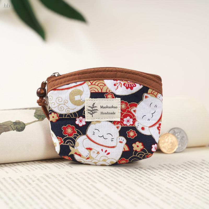 กระเป๋าสตางค์กระเป๋าสตางค์แท้กระเป๋าใส่บัตร coachกระเป๋าใส่สตางค์✐♚มินิผ้าเกาหลีย้อนยุคหญิงชรา ผ้าฝ้ายแท้ใบเล็กสดกระเป๋