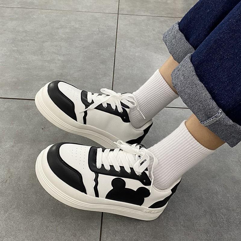 (สินค้าพร้อมส่ง) รองเท้าผ้าใบส้นตึกสีดำ / ชมพู / เทา รองเท้าคัชชูหัวมนน่ารัก รองเท้าผู้หญิงแฟชั่นเกาหลี