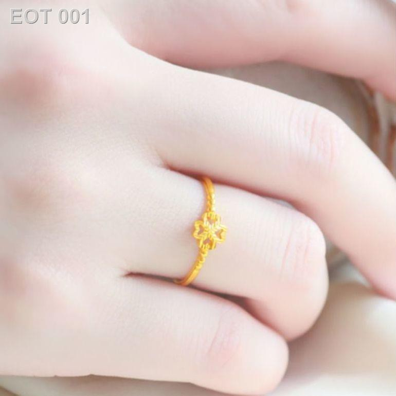 ❤ลดราคา❤◆✣۩ของขวัญวันปีใหม่ 5G แหวนโคลเวอร์สี่แฉกชุบทองแหวนทองคำขาวปรับได้แหวนวงเล็กสำหรับแฟน