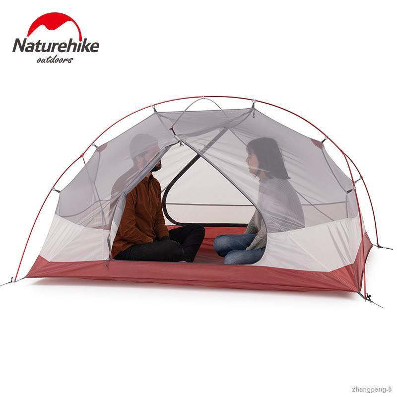 ♞Naturehike Custom Mongar 1 2 3 People Waterproof Double Layer Outdoor Tent Aluminum Rod Gray Ultralight Single Camping