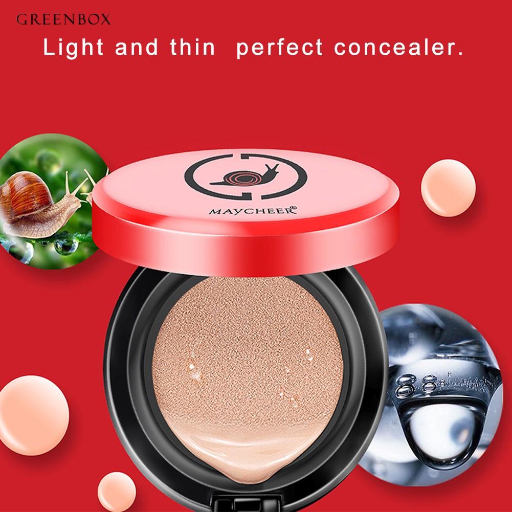 Greenbox 2Pcs Snail Air Cushion CC Cream Face Concealer Women Powder