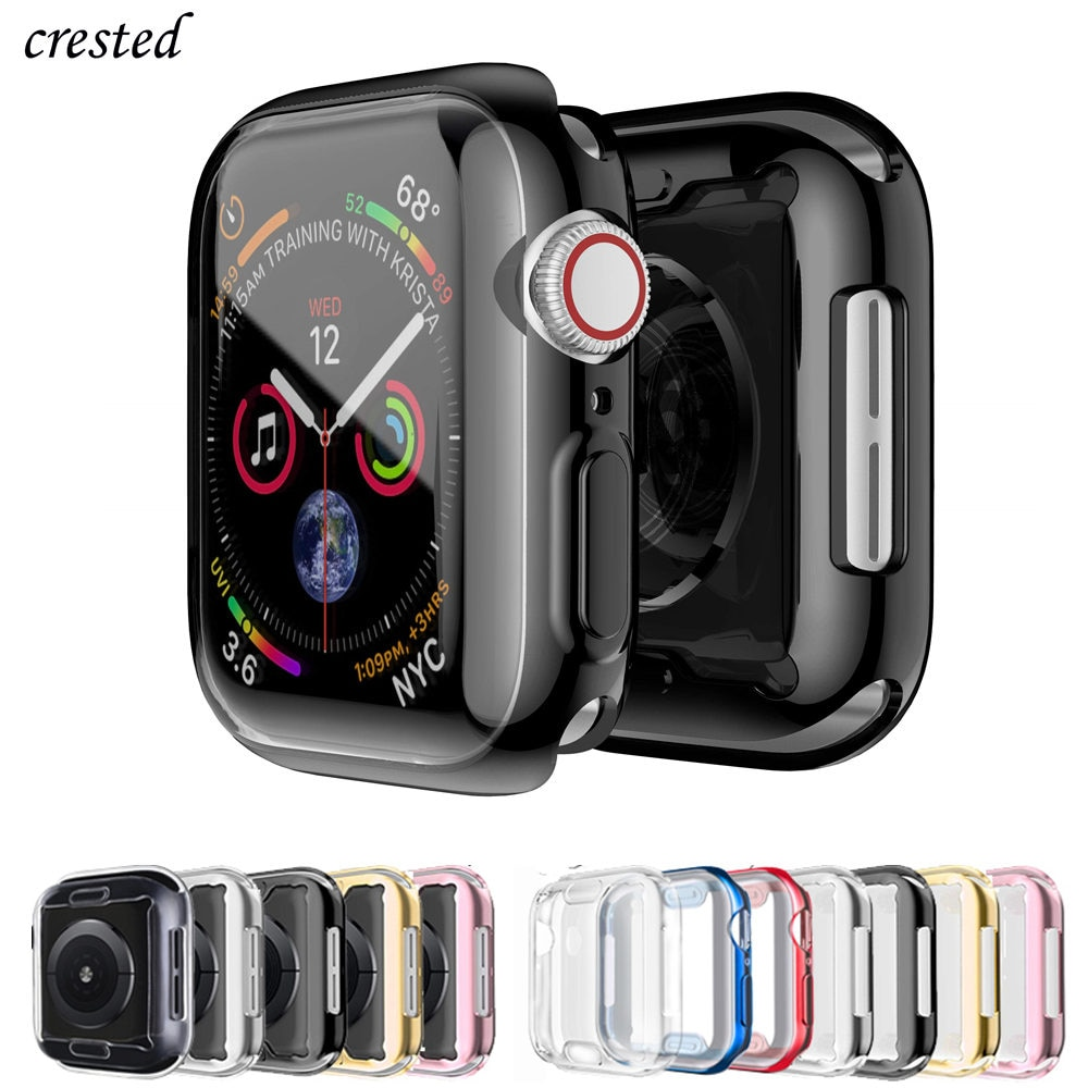 Cover For Apple Watch case 44mm/40mm iWatch 3 42mm/38mm Accessories TPU Bumper Screen Protector Apple watch series 5 4 3