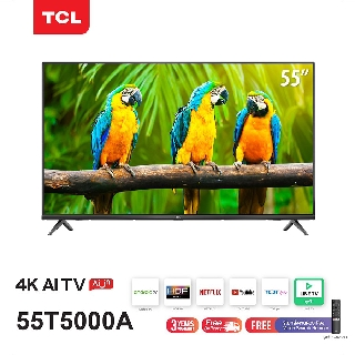 TCL ทีวี 55 นิ้ว LED 4K UHD Android TV 9.0 Wifi Smart TV OS (รุ่น 55T5000A) Google assistant