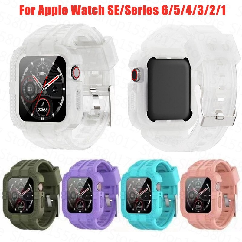 2in1 Strap+Watch Case For Apple Watch Band 44/40/38/42mm Soft Silicone Full Frame Protector Case for iWatch 6 5 4 3 2 Watchband