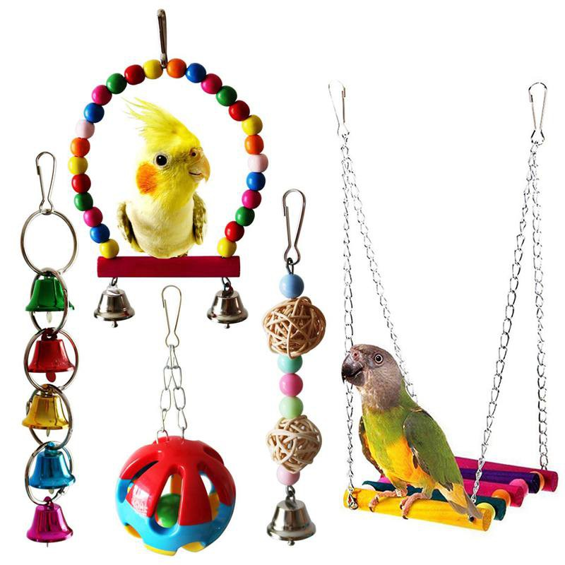 Home & Garden Obedient Bird Toys Wooden Ladders Rocking Parrot Swing Toys New Colorful Chewing Hanging Rope Bell Decor Bird Hanging Toy Bird Toys