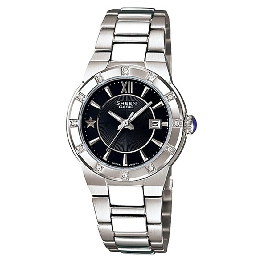 CASIO SHEEN นาฬิกาข้อมือผู้หญิง สายสแตนเลส รุ่น SHN-4500D-1ADR - สีดำ