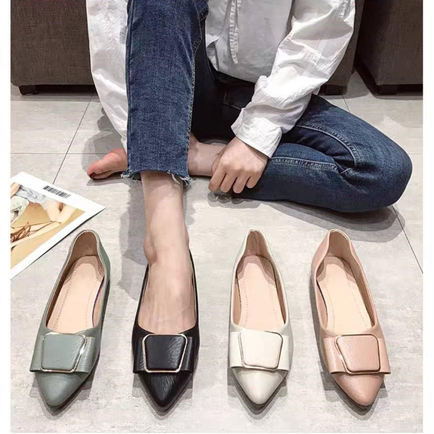 รองเท้าคัชชู หัวแหลม รองเท้าคัชชูเปิดส้น รองเท้าผู้หญิง รองเท้าโลฟเฟอร์ คัชชู สไตล์ญี่ปุ่น❤️ใส่นิ่มสบายเท้า