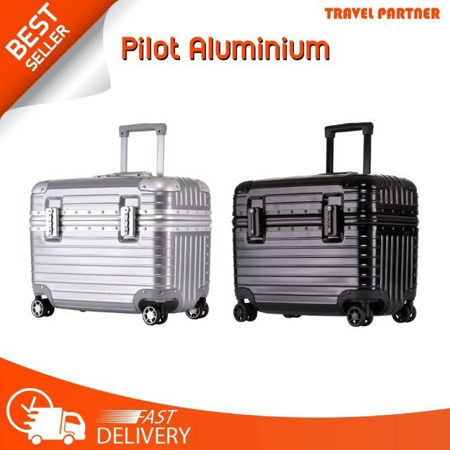 "Pilot Aluminium กระเป๋าเดินทางขนาด 16"" 21"" อลูมิเนียม 100%"