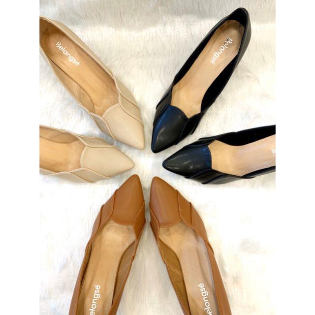 👠BELONGSE💗บีลองเซ่👠รองเท้าคัชชู รองเท้าส้นสูง หนังนิ่ม ส้น 2 นิ้ว
