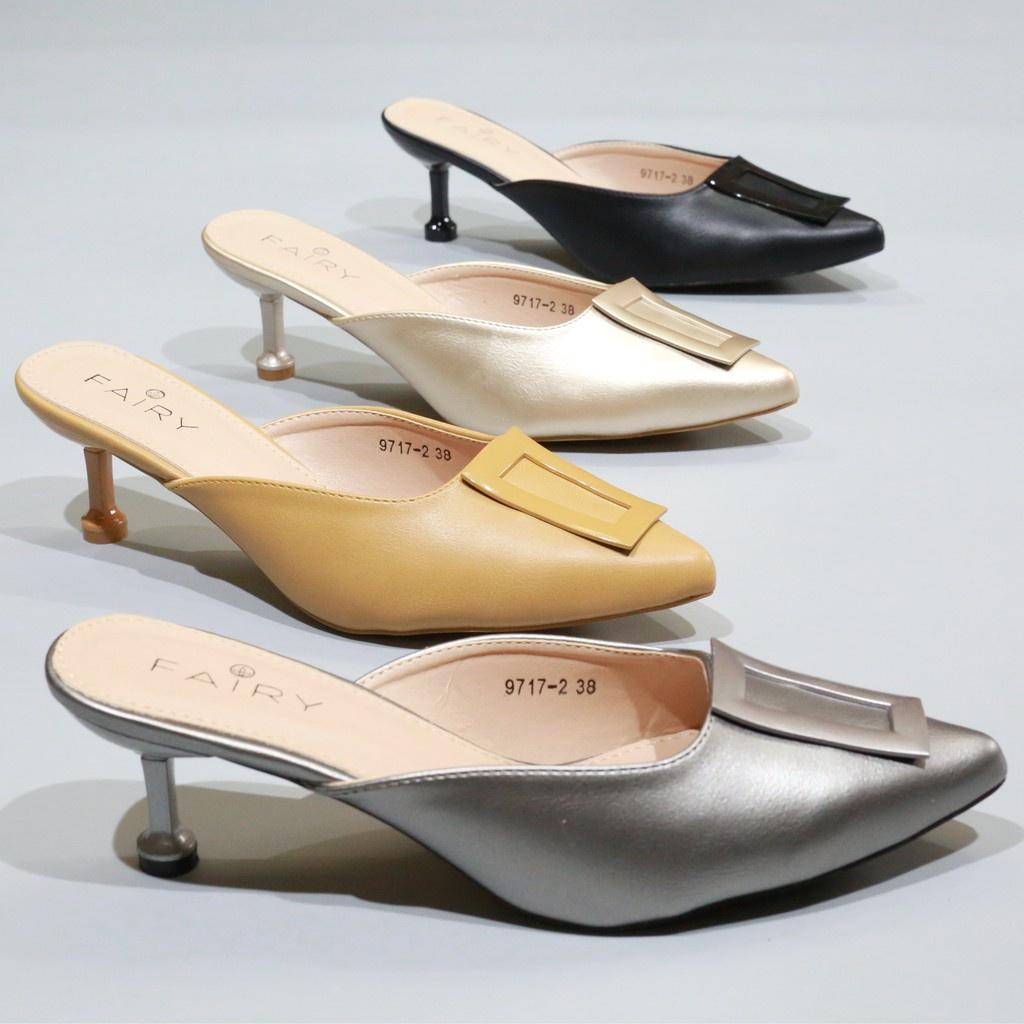 """รองเท้าส้นสูง 9717-2 คัชชูเปิดส้นสูง 2.5""""  รองเท้าคัชชูหัวแหลม เปิดส้น ส้นสูง แฟชั่น FAIRY"""