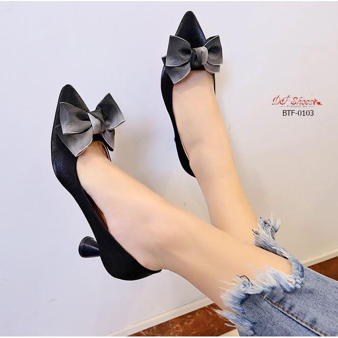 รองเท้าคัชชู รองเท้าคัชชูส้นสูง รองเท้าคัชชูหัวแหลม สีดำ