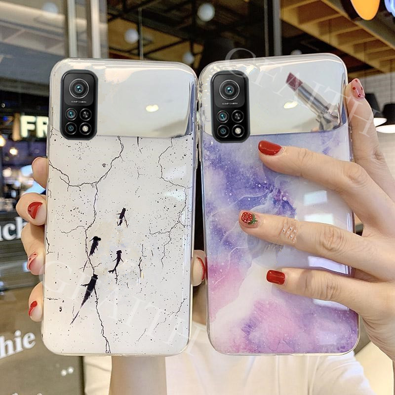 In Stock เคสโทรศัพท์ For Xiaomi Mi 10T / Xiaomi 10T Pro 5G 2020 New Case Fashion Back Cover Marble Plating Makeup Mirror Casing เคส For Xiaomi10T Mi10T 10TPro