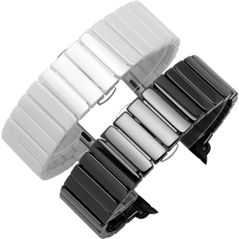 Classic Noble Ceramic Band For Apple Watch 44mm 42mm 40mm 38mm Bands iWatch Series SE 6 5 4 3 2 Business Butterfly Buckle Strap