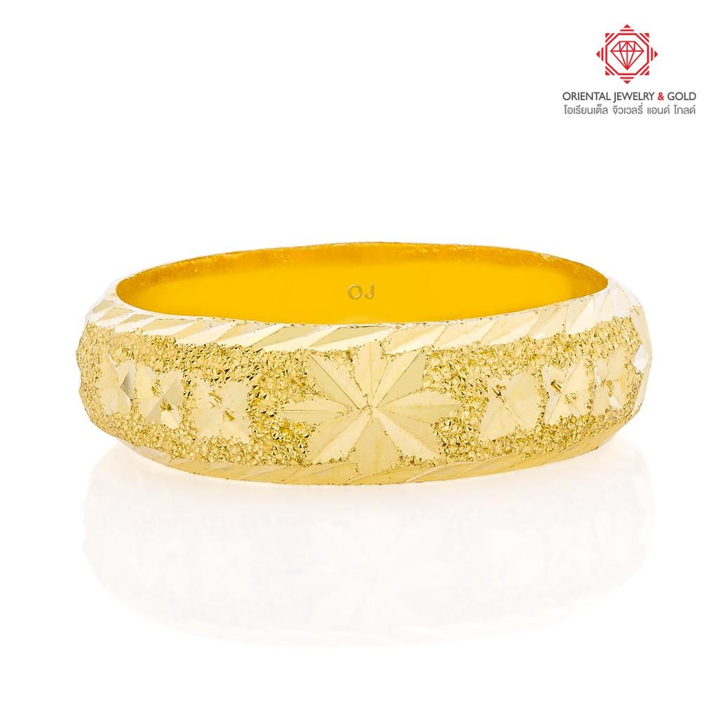 [ผ่อน0%] OJ GOLD แหวนทองแท้ นน. ครึ่งสลึง 96.5% 1.9 กรัม ปอกมีดตัดลาย ขายได้ จำนำได้ มีใบรับประกัน แหวนทอง