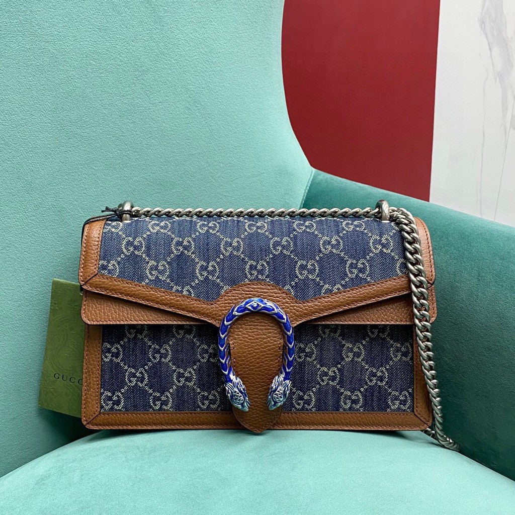 GUCCI dionysus medium 400249 denim กระเป๋าสะพายไหล่กระเป๋าสะพายข้าง หนังแท้กระเป๋าสตางค์ แบรนด์เนน กระเป๋าแฟชั่น