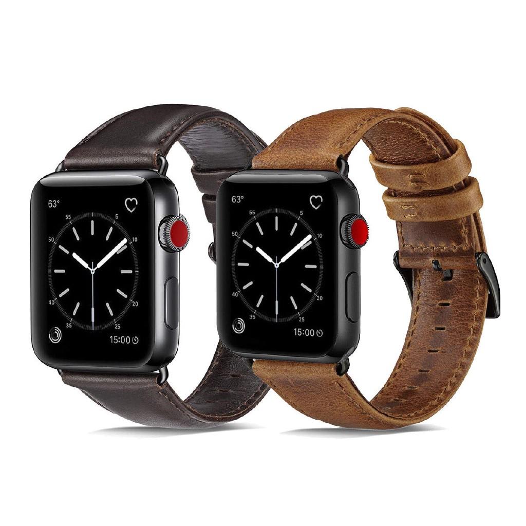 สายนาฬิกาข้อมือหนังแท้ 40/44 มม. สําหรับ Apple Watch Series 5 4 3 2 1 38 มม. 42 มม.