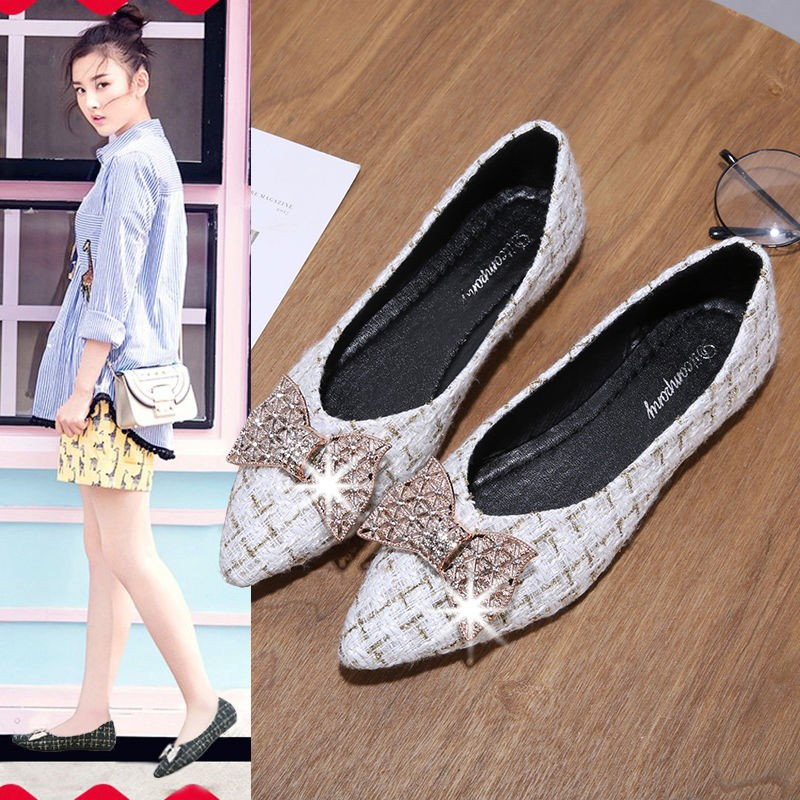 🍁รองเท้าคัชชู ผู้หญิง ส้นเรียบ ใส่สบาย คัทชู คัตชู ใส่ทำงาน รองเท้าคัทชู รองเท้าคัชชูย่นโบว์