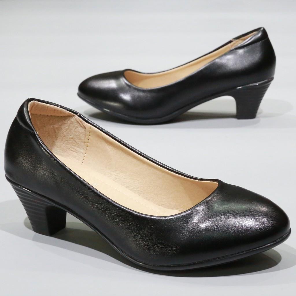 📣🔥💥☞รองเท้า 833 รองเท้าผู้หญิง รองเท้าคัชชู ส้นสูง สีดำ นักศึกษา รองเท้าส้นสูง ลายไม้ 2 นิ้ว FAIRY รุ่น