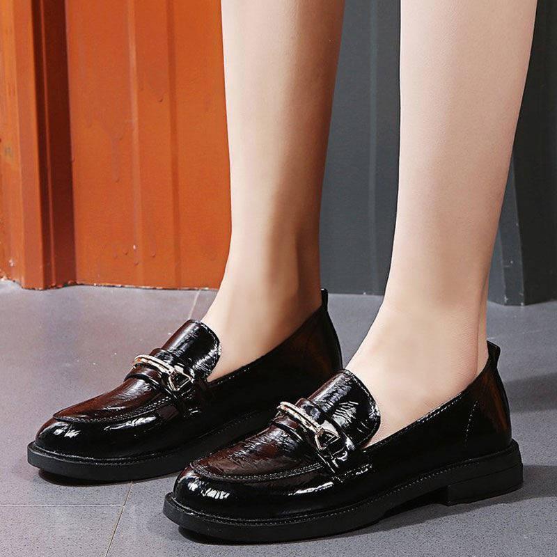 รองเท้าคัชชู รองเท้าผู้หญิง ❧Laofu รองเท้าหญิง YingLai ลมสีดำแบนย้อนยุครองเท้าหนังขนาดเล็กนุ่มฤดูใบไม้ผลิฤดูใบไม้ร่วงถั่