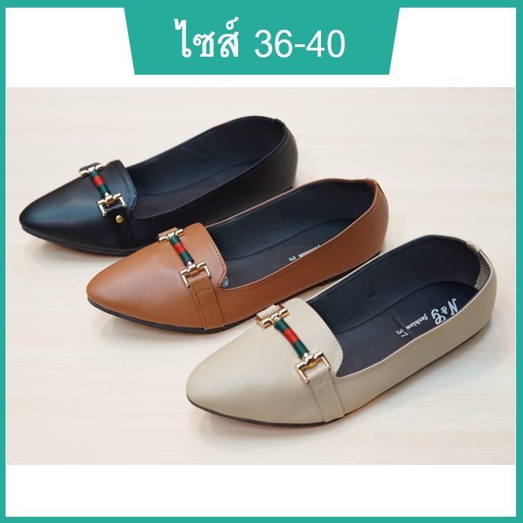 รองเท้าคัชชูผู้หญิง รองเท้านักศึกษาหญิง รองเท้าหุ้มส้นหญิง หัวแหลมพื้นแบน พื้นเตี้ย หนังนิ่ม สีดำ ครีม น้ำตาล ไซส์ 36-40