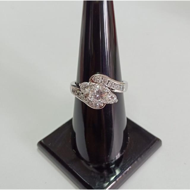 แหวน เพชร cz ชุบซาติน ทองคำขาว ราคาพิเศษ
