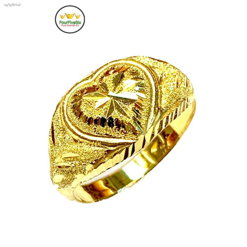 ราคาต่ำสุด┅FFS แหวนทองครึ่งสลึง หัวใจโป่ง หนัก 1.9 กรัม ทองคำแท้96.5%