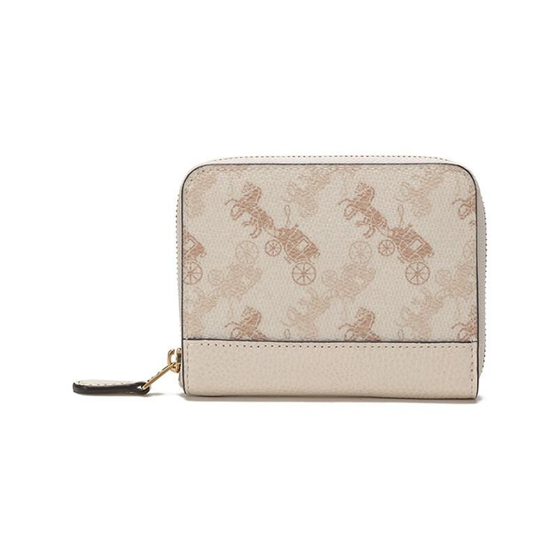 COACH COACH 2021ฤดูใบไม้ผลิและฤดูร้อนรุ่น หรูหรา สุภาพสตรีตู้เคลือบใบผ้าหนังกระเป๋าสตางค์สั้นกระเป๋าสตางค์