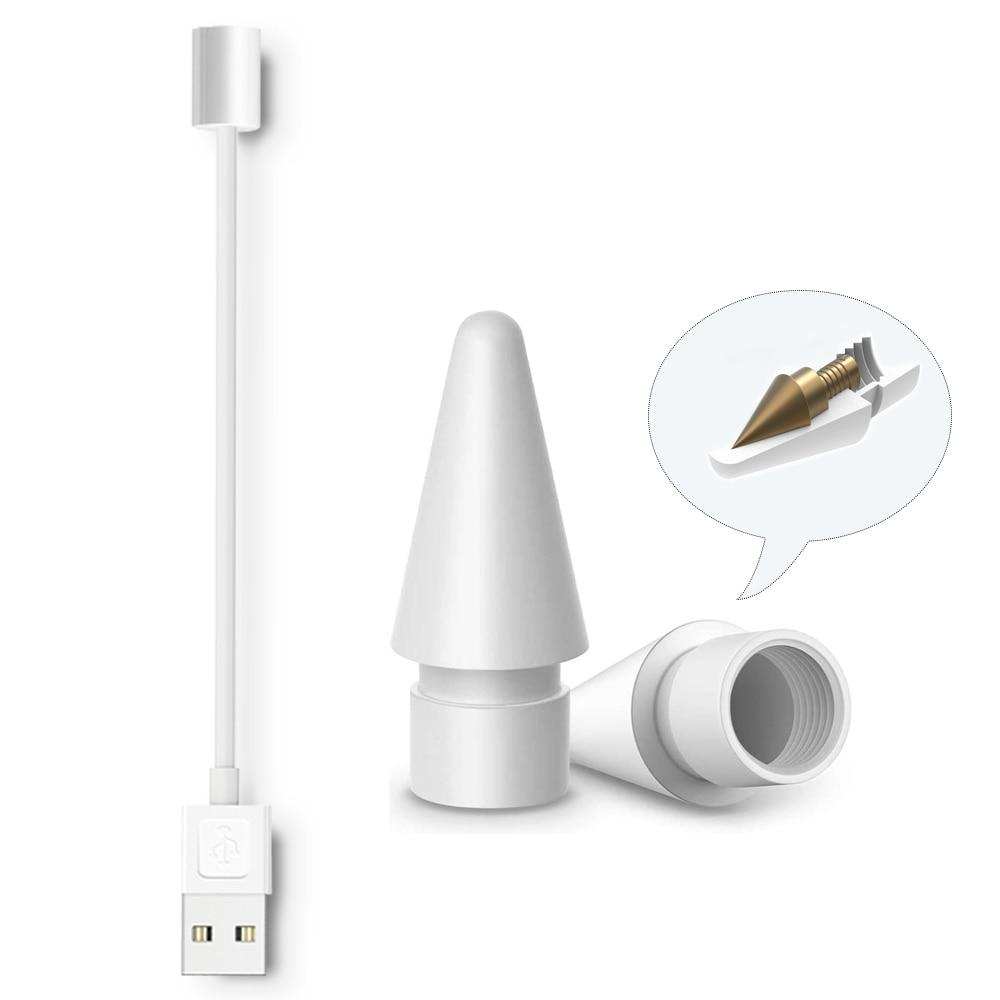 สายชาร์จ Usb 1 ชิ้นสําหรับ Apple Pencil Tip & Peilinc Stylus Nib 2 ชิ้น