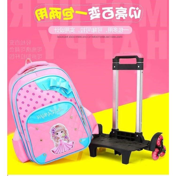 .สไตล์เกาหลีรถเข็นกระเป๋านักเรียนนักเรียนระดับประถมศึกษา6-12ปีสาวน่ารักเจ้าหญิง1-3-5เกรดเด็กกระเป๋าเดินทางมือ