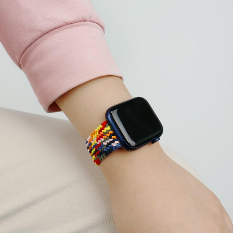 สาย applewatch▬ใช้ได้กับ Applewatch6 สายรัดไนลอนแบบหมุนครั้งเดียว iwatch5 / 4/3 นาฬิกาแอ็ปเปิ้ลทอแบบยืดหยุ่นรอบเดียวแบบ