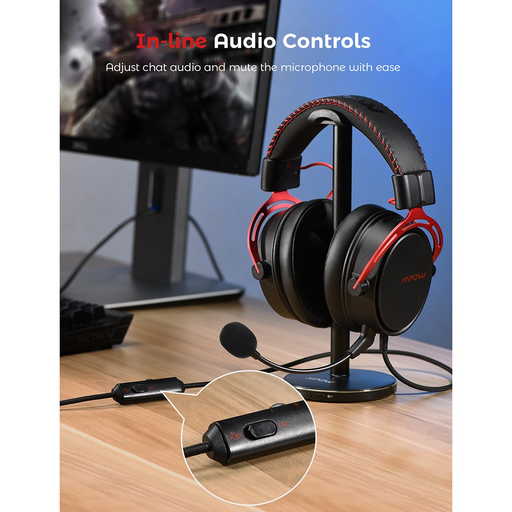 Mpow Air SE Gaming Headset Wired Surround Sound Headphones with Noise  Cancelling Mic In Line Control for PC คุณภาพสูง