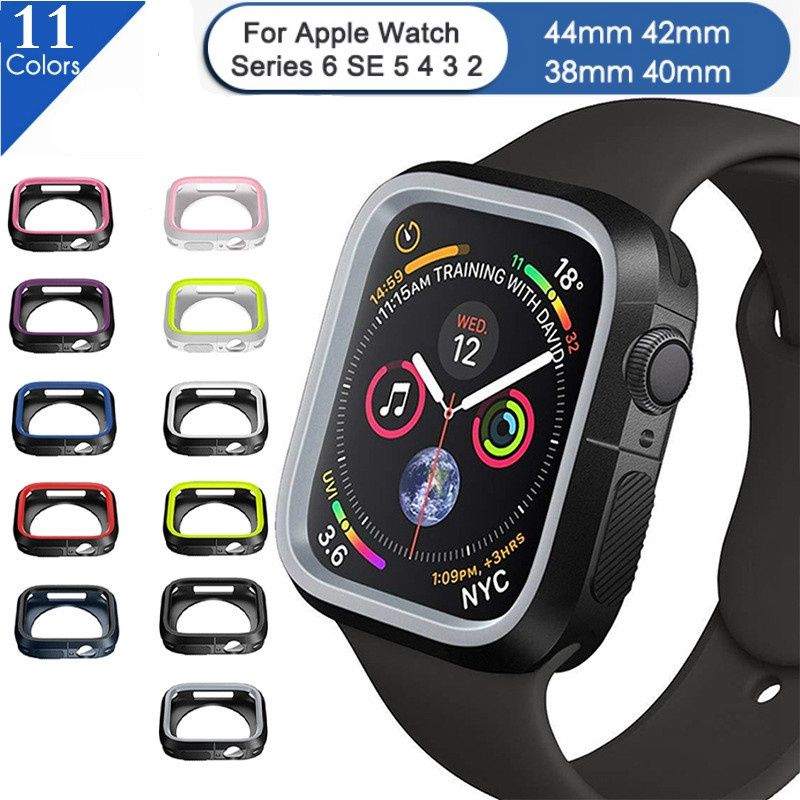 Apple Watch silicone case, two-color watch case, suitable for iwatch 4 5 6 SE 40MM 44MM case, iWatch 3 2 1 38MM 42MM watch case