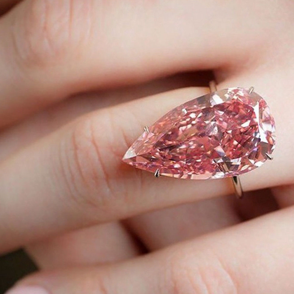 Womens Fashion Rose Gold Pear Cut Ring Eternity Pink Sapphire Waterdrop Jewelry
