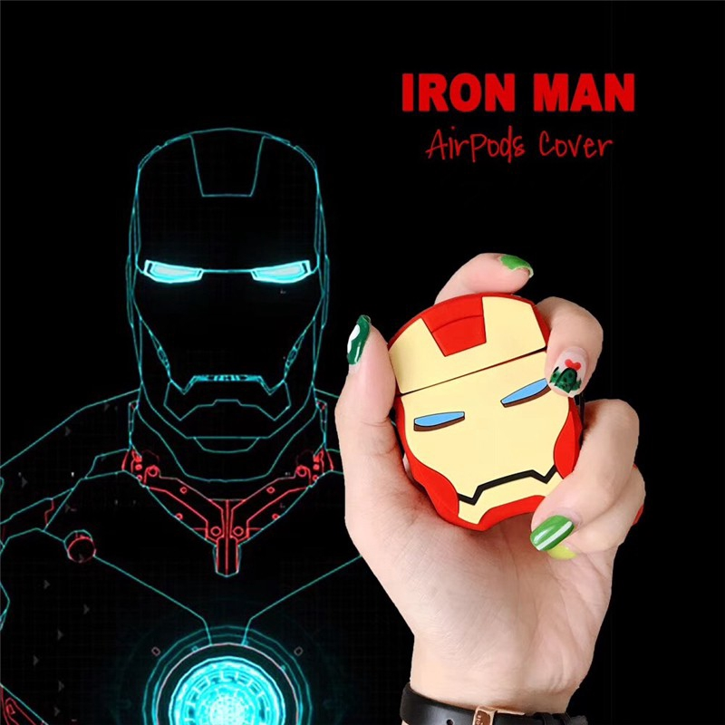 Apple AirPods Case airpods Covers Soft Case AirPods 2 Earphone case iron Man ring