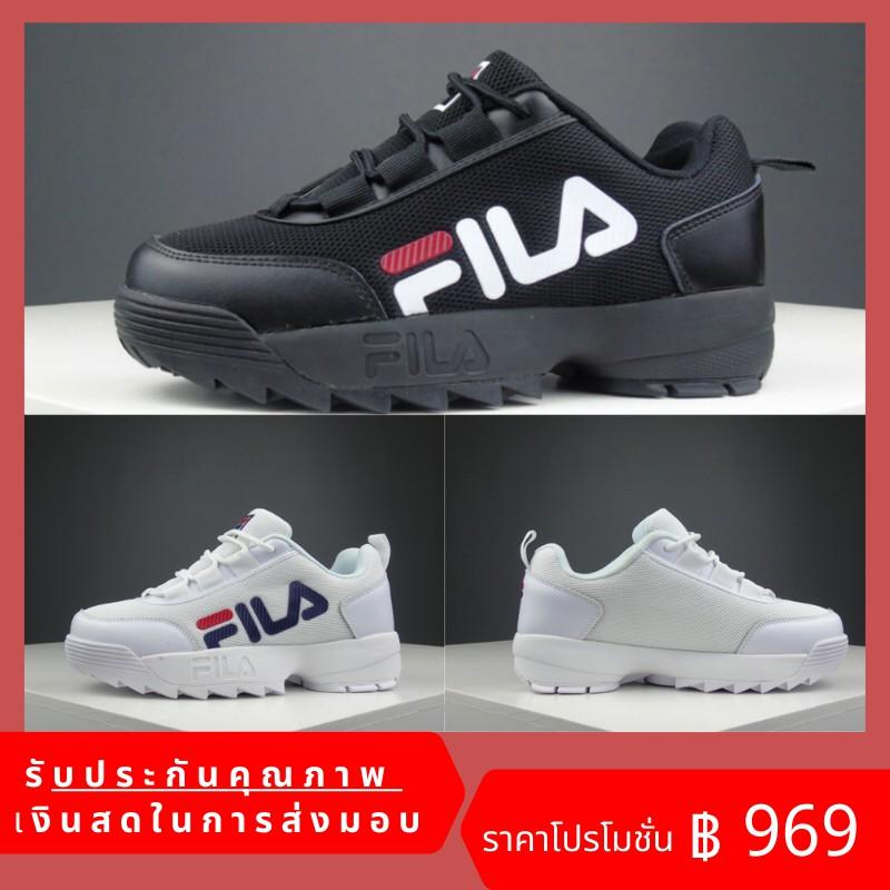 FILA Fila Disruptor ผู้ชายและผู้หญิงแฟชั่นรองเท้าผ้าใบลำลองรองเท้าวิ่ง